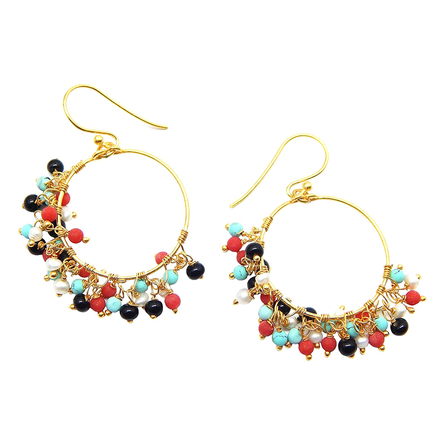 The V Collection earrings 22k yellow gold plated multi gemstone beads dangling earrings for her