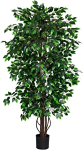 Woooow 6Ft Artificial Ficus Tree Silk Tree Fake Plant in Pot Decorative Trees for Home Kitchen Office Living Room Decor