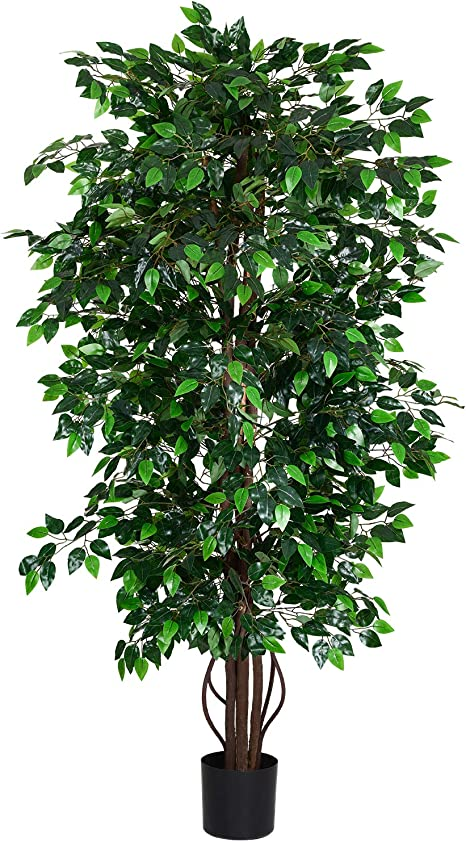 Amazon Com Woooow 6ft Artificial Ficus Tree Silk Tree Fake Plant In Pot Decorative Trees For Home Kitchen Office Living Room Decor Furniture Decor