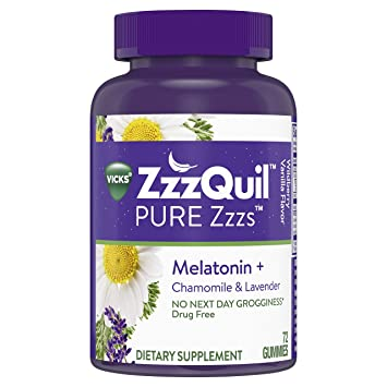 Vicks ZzzQuil Pure Zzzs Melatonin Sleep Aid Gummies with Chamomile, Lavender and Valerian Root,