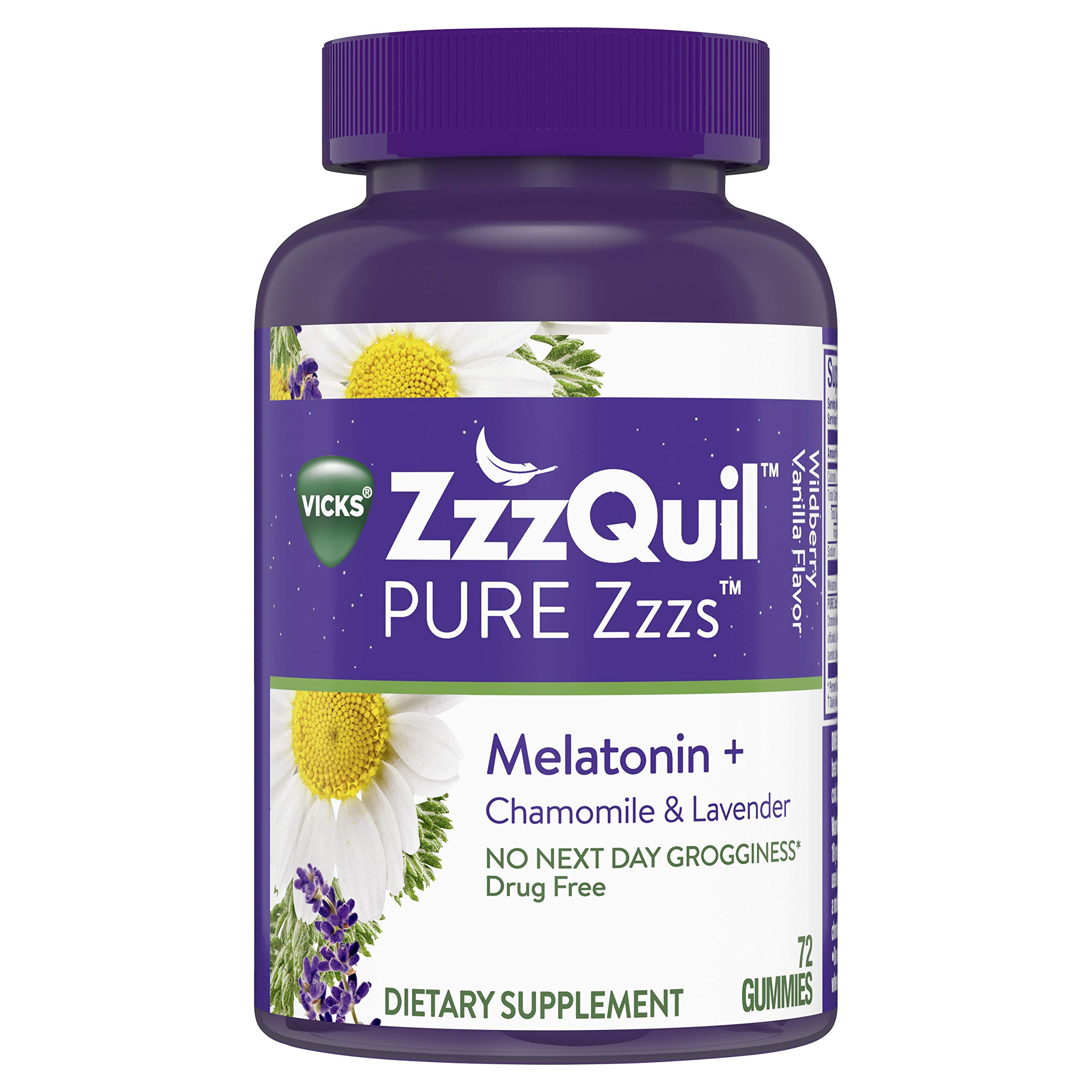 Amazon.com: Vicks ZzzQuil Pure Zzzs Melatonin Sleep Aid Gummies with Chamomile, Lavender and Valerian Root, Natural Flavor, 72 ct: Health & Personal Care