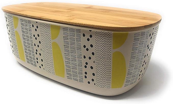MGE - Panera - Contenedor de Cocina para el Pan - Caja de Mesa Grande para Guardar Pan - Bambú - Diseño Amarillo: Amazon.es: Hogar