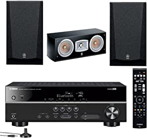 Yamaha 5.1-Channel Wireless Bluetooth 4K A/V Home Theater Receiver + Yamaha Natural Sound Bookshelf & Center Channel Home Theater Speakers