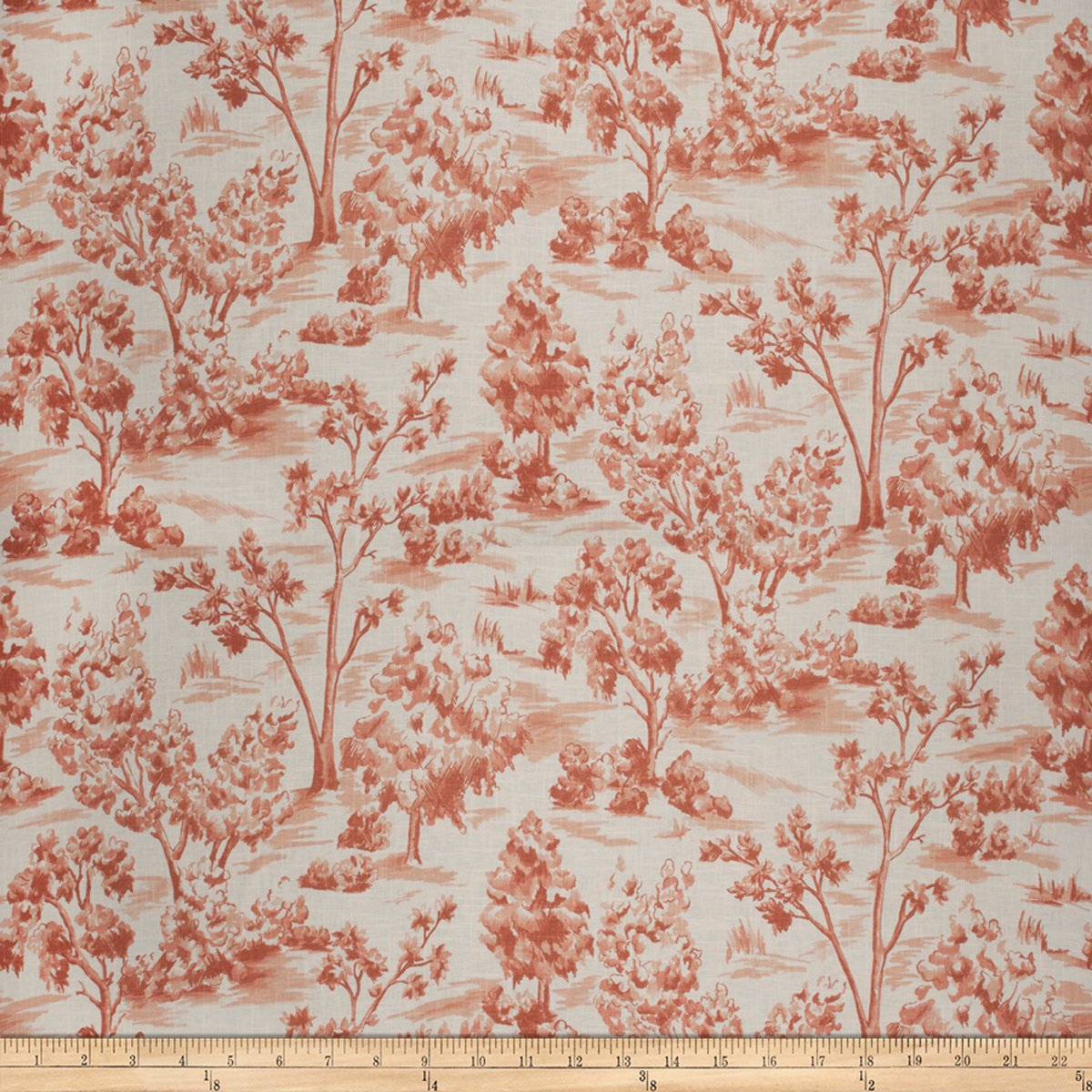 French General Arbe Toile Linen Blend Sienna Fabric by The Yard