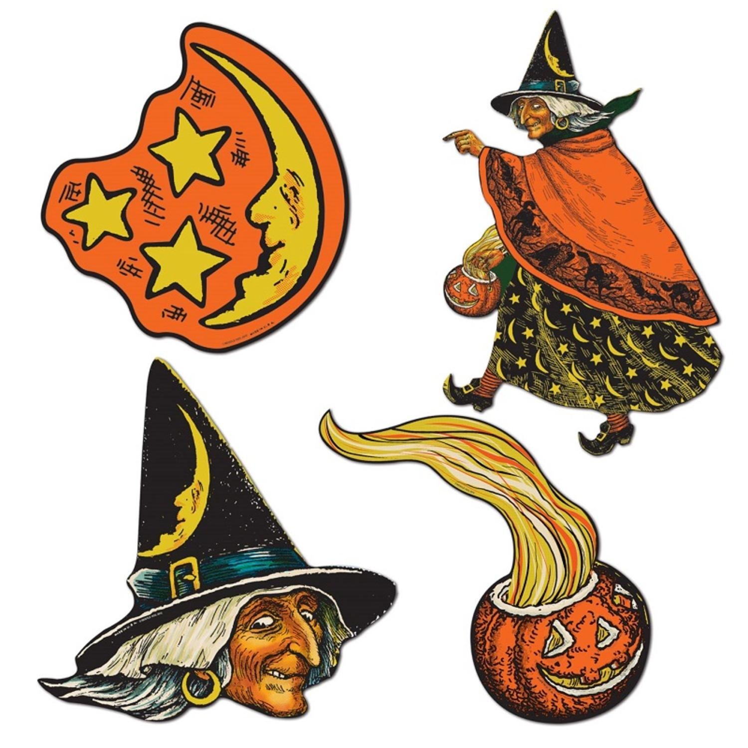 Results 181 240 of 644 for indoor halloween decorations - Amazon Com Club Pack Of 48 Spooky Pumpkin Witch Moon And Stars Cutout Halloween Decorations 10 5 Home Kitchen