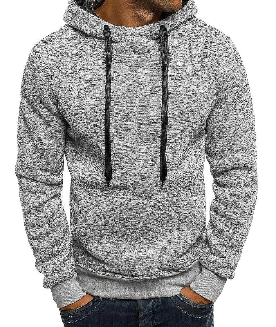 Hajotrawa Mens Stylish Tops Solid Color Active Hoodies Sweatshirts