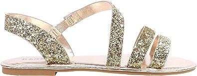 Bamboo Women Glitter Open Toe Slip on