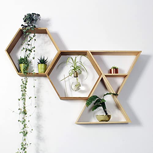 Outlavish Hexagon Floating Honeycomb Shelves Pine Sets of 2 Triangle, Early American