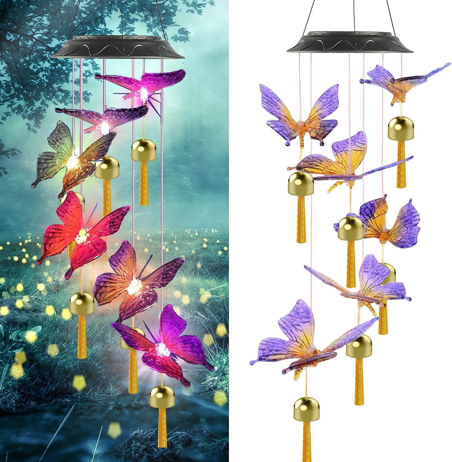 Wind Chimes for Outside, Solar Butterfly Windchimes with Music Metal Tubes, 7 Colors Changing LED Lights, Waterproof Windchimes for Indoor Outdoor, Garden, Patio Decor, Love Memorial, Mom Gift