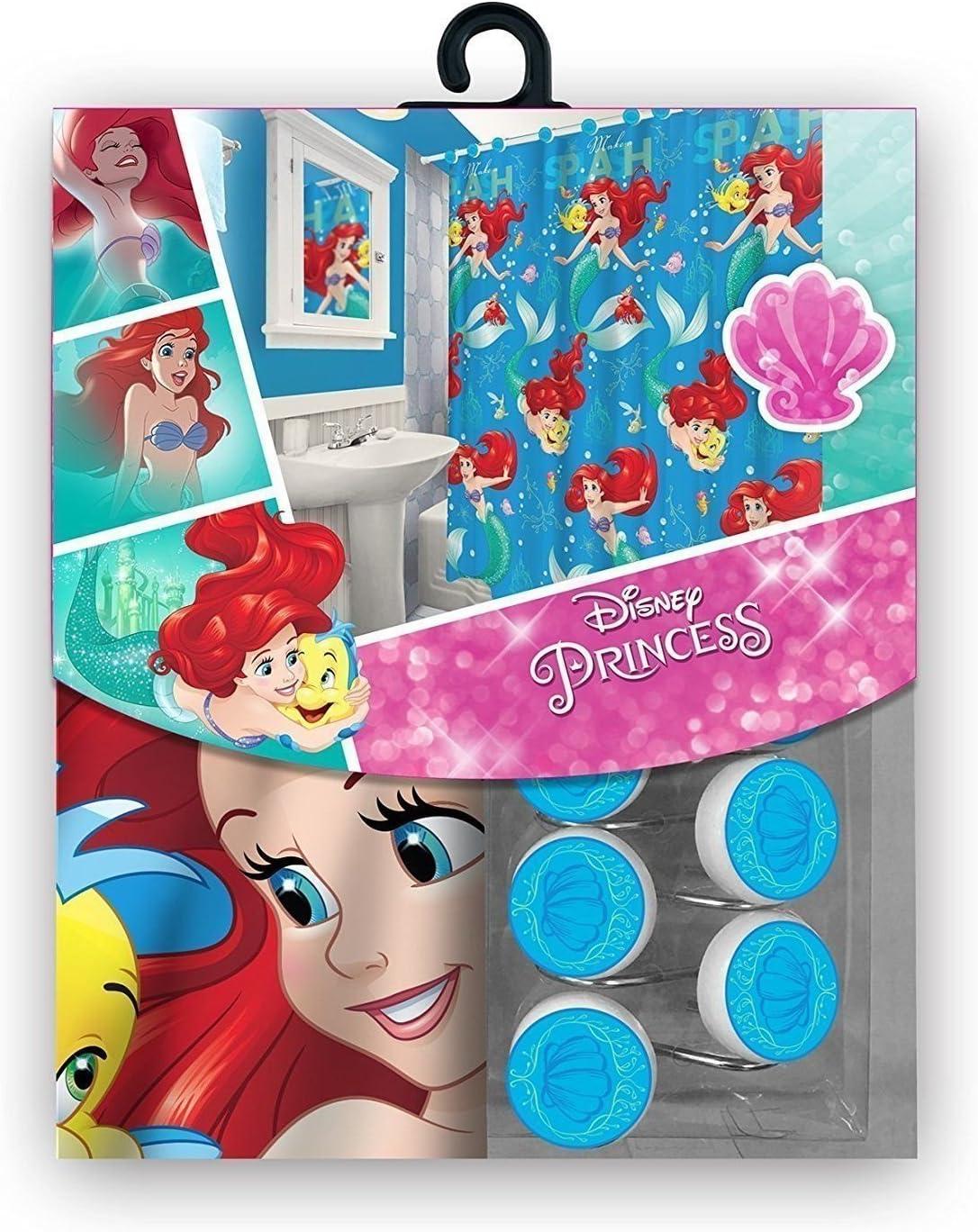 S.L. Home Fashions 13pc Disney Ariel Little Mermaid Shower Curtain and Hooks Set