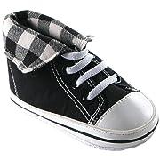 Luvable Friends Fold-Down Hi-Top Sneakers (Infant), Black, 6-12 Months M US Infant