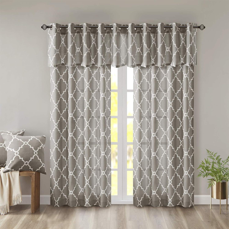 Saratoga Fretwork Print Contemporary Modern Floral Valance 50x18 Geometric Gray Valances For Windows Grey 50x18 Madison Park Mp41 2020 Window Treatments Draperies Curtains