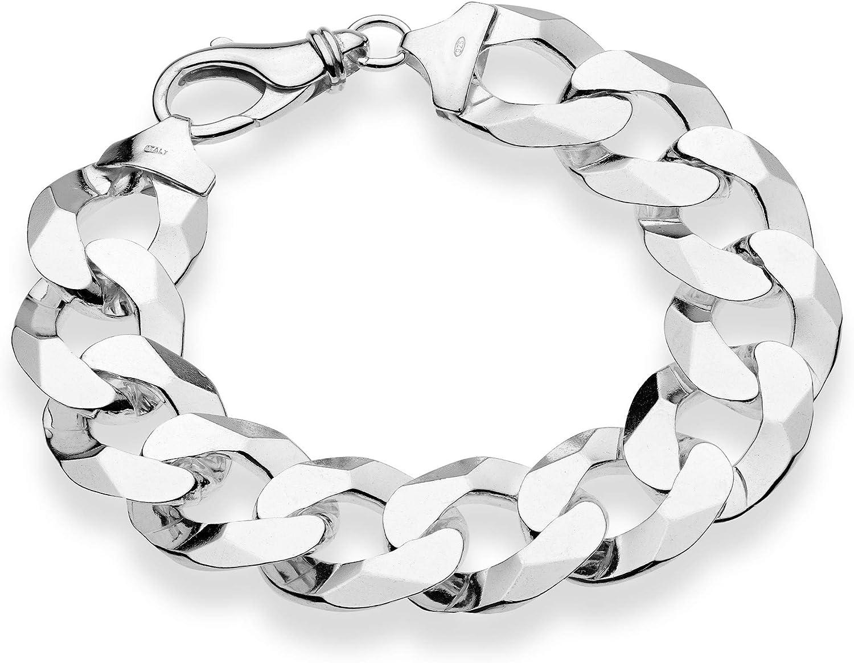 Miabella 925 Sterling Silver Italian 17mm Solid Diamond-Cut Cuban Link Curb Chain Bracelet 8.5, 9 Inch Jewelry for Men