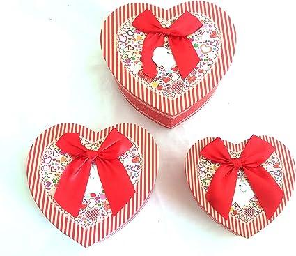Cajas San Valentín Vacías Grandes Regalos Lazos Corazón (RAYAS ...