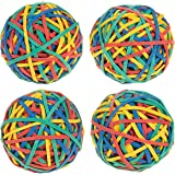 Set of 4 Colorful Rubber Band Balls - Elastic Rubber Bands Pack, Rubber Band Balls for DIY, Arts & Crafts, Document Organizing, Green, Blue, Yellow, Red