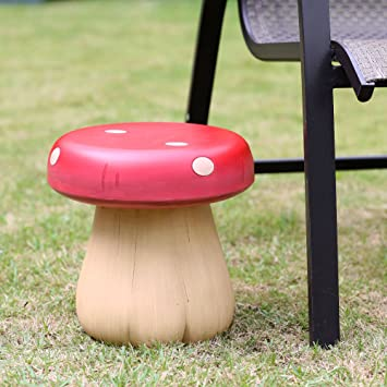 11 U0026quot; Magical Red Mushroom Outdoor Stool For Garden And Courtyard
