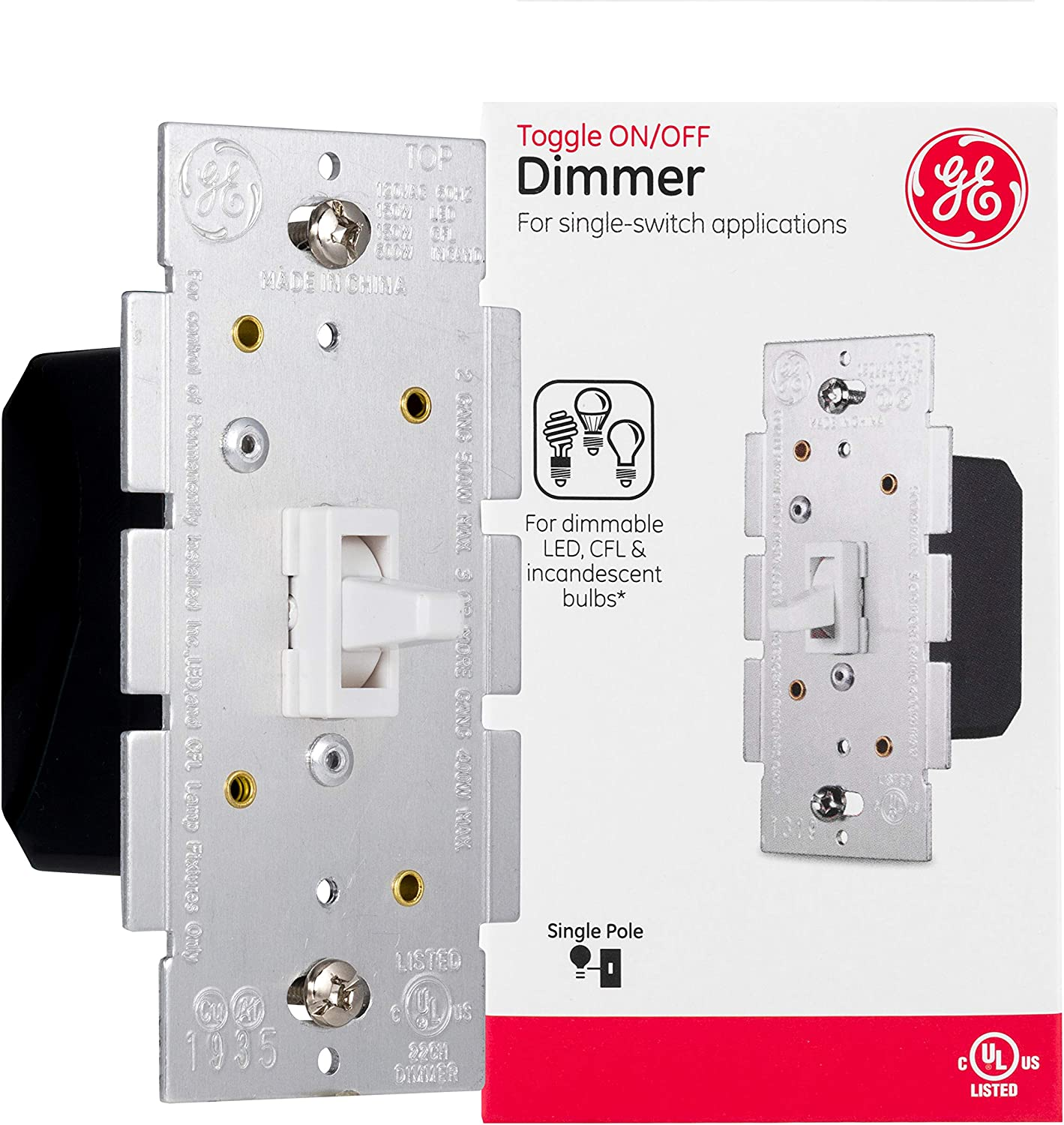 GE Light Switch Dimmer, Single Pole Toggle Dimmer, On/Off Dimmable Wall Switch, Dimmable LED, CFL, Incandescent Bulbs, UL Listed, White, 18025