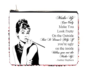 Amazoncom Audrey Hepburn Makeup Quote 2 Sided 65 X 8 Red - Audrey-hepburn-makeup