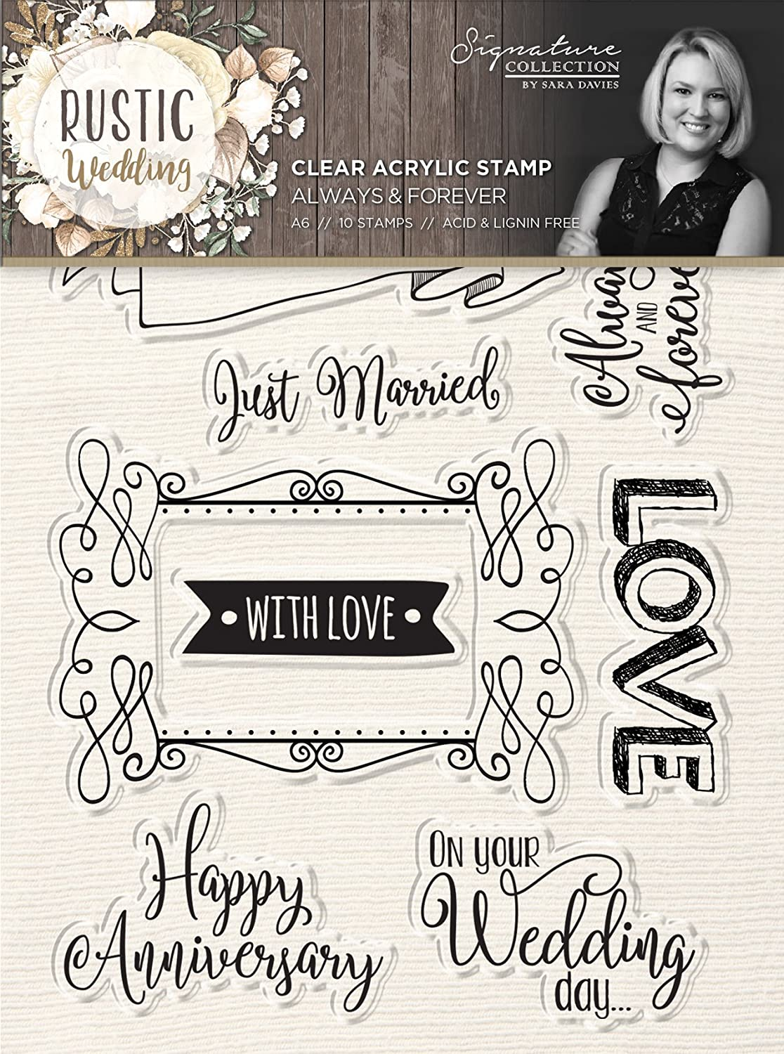 Sara's Signature S-RW-ST-AAF Always & Forever 10 Piece Rustic Wedding Stamp Set, Clear