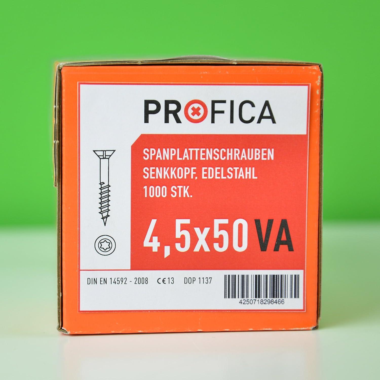 Profica/® Spanplattenschrauben Edelstahl Holzschrauben Profika A2 VA Torx Teilgewinde wow 6x80 mm, 200