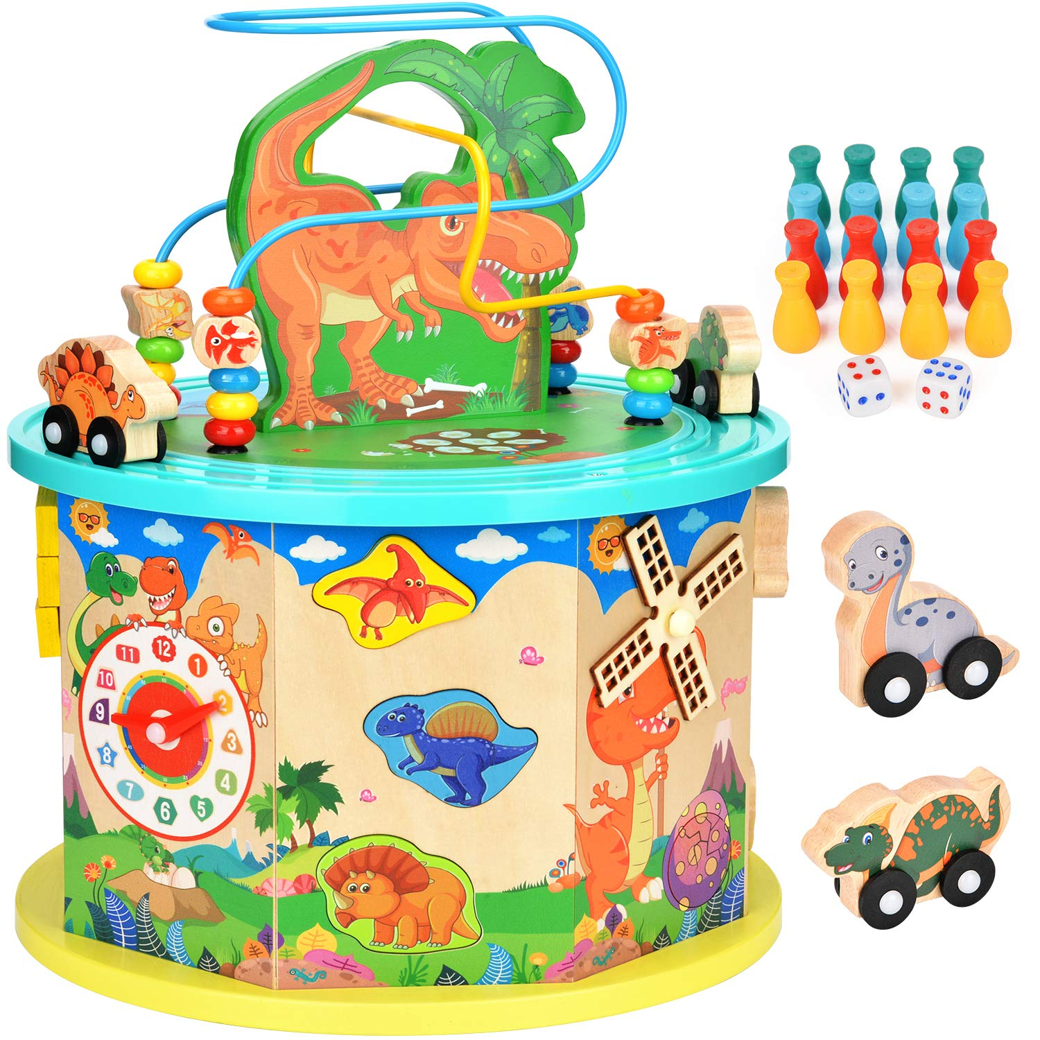 Amagoing Dinosaur Activity Cube, Baby Educational Toys Wooden Activity Center Bead Maze with Shape Sorter for Kids