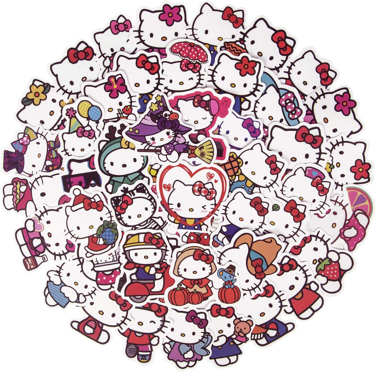 Cute Hello Kitty Stickers for Water Bottles, 50Pcs Lovely Waterproof Laptop Stickers for Skateboard Cup Guitar Luggage, Vinyl Aesthetic Kawaii Stickers for Kids Girls Teens(Hello Kitty)