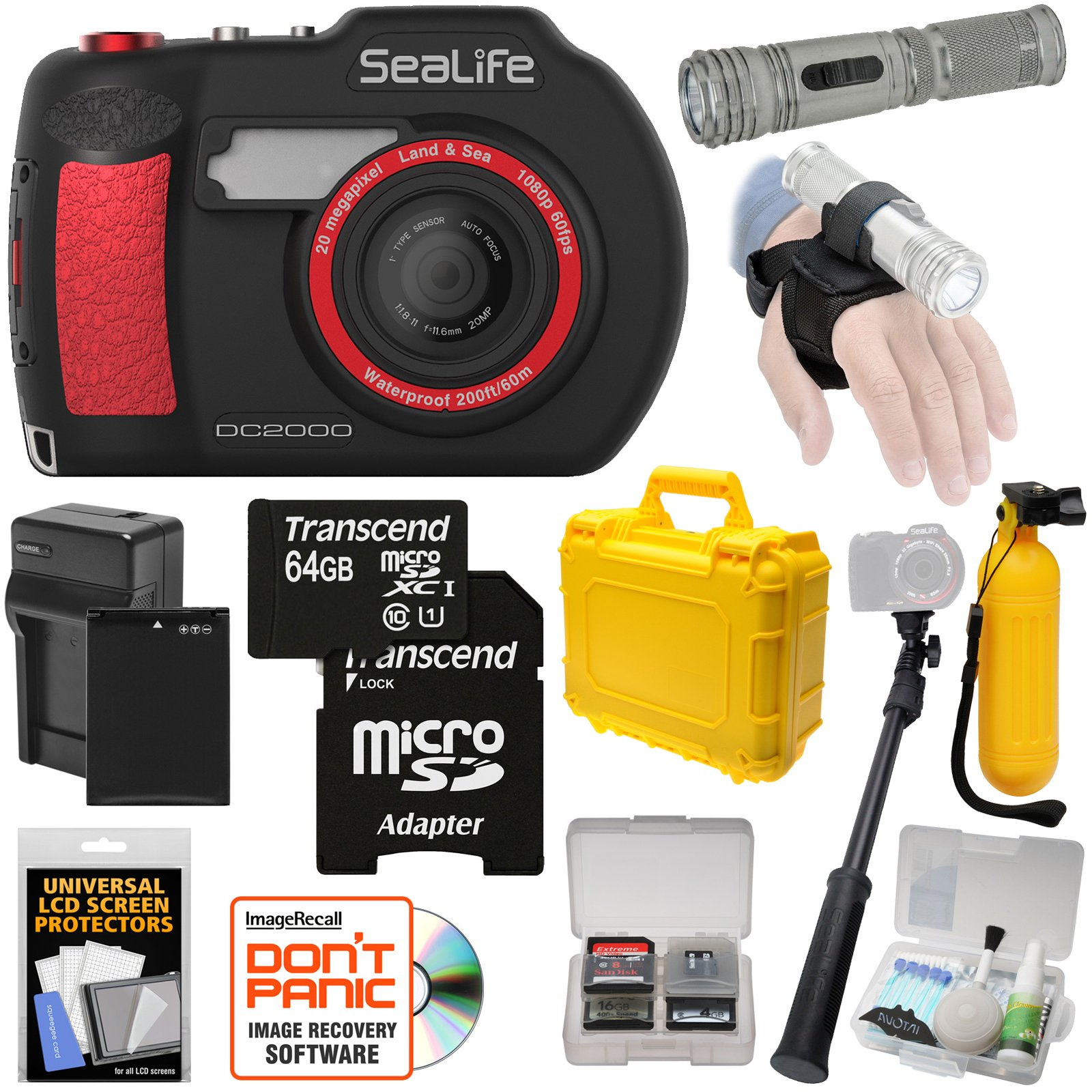 SeaLife DC2000 HD Underwater Digital Camera with AquaPod Selfie Stick + 64GB Card + Battery & Charger + Hard Case + Torch + Buoy + Kit by SeaLife