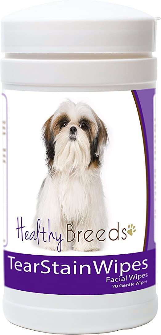 Healthy Breeds Dog Tear Stain & Facial Wipes - Over 200 Breeds - Fragrance Free - 70 Wipes