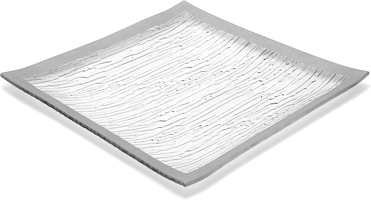 GAC Large 13 Inch Tempered Glass Tray Square Glass Platter Break and Chip Resistant – Oven/Microwave Safe – Dishwasher Safe – Decorative Charger Plate, Glass Serving Tray
