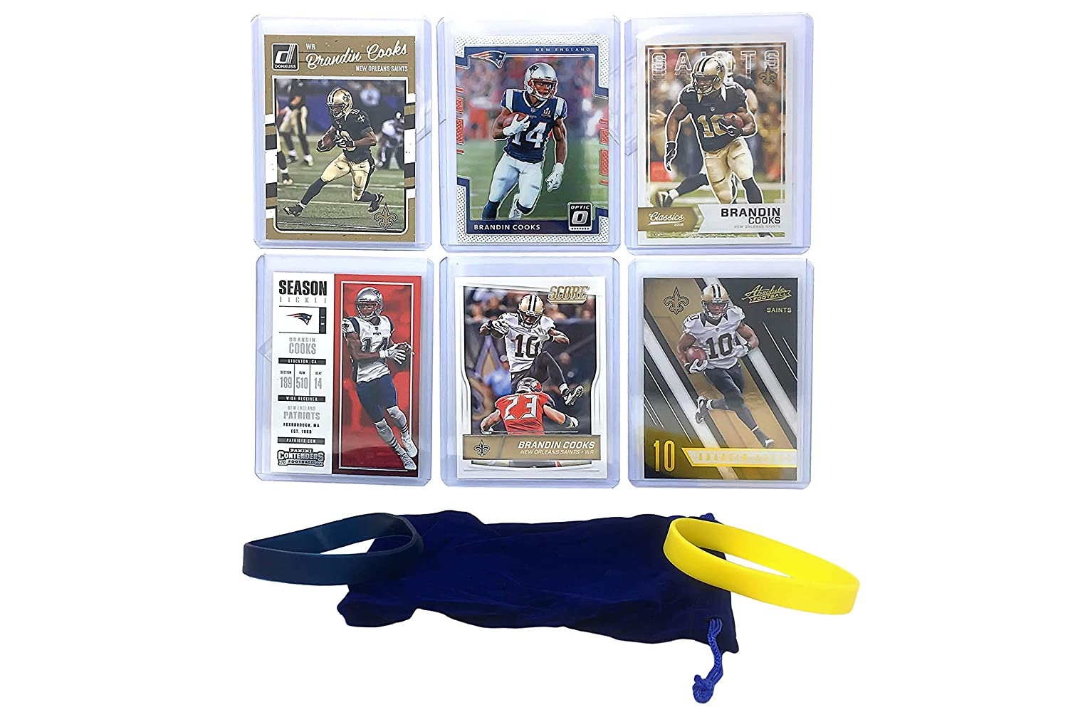 Brandin Cooks Football Cards (6) Assorted Bundle - Los Angeles Rams Trading Card Gift Set Panini Bowman Topps