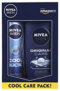 Nivea Men Cool Kick Deodorant Spray, 150ml with Original Care Shower Gel, 250ml