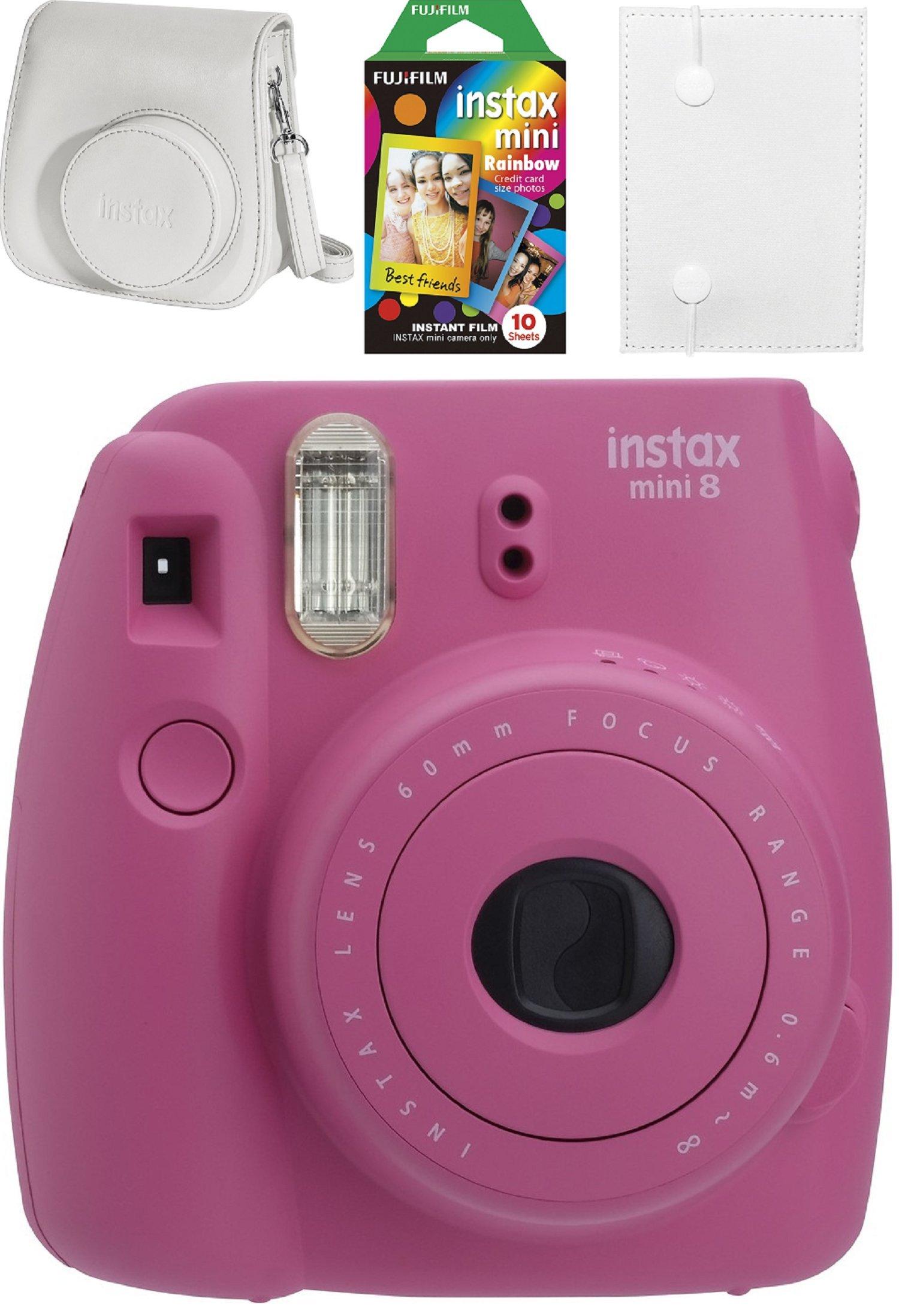 Fujifilm - Instax mini 8 Instant Film Camera Bundle - Hot Pink
