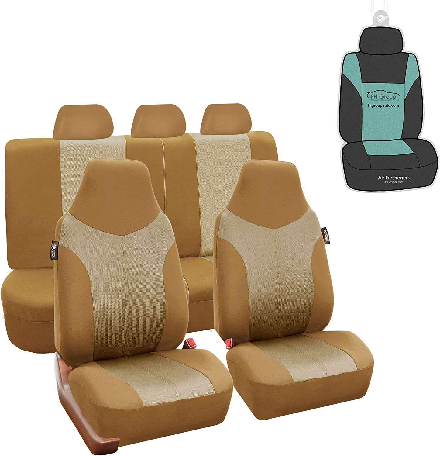 FH Group FB101115 Supreme Twill Seat Covers (Beige) Full Set with Gift - Universal Fit for Cars Trucks and SUVs