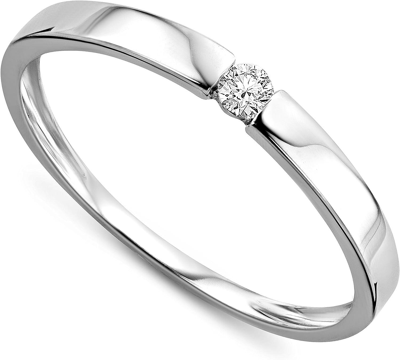 Orovi anillo de señora solitario 0.05 Ct diamantes en oro blanco de 9k ley 375 Anillo Hecho a Mano en Italia