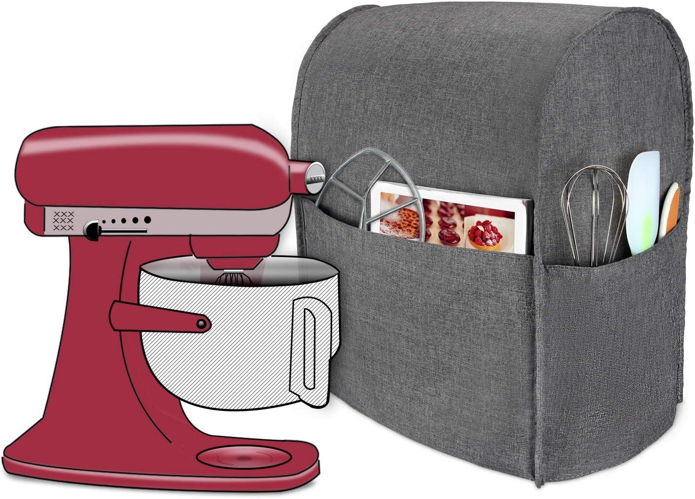 Luxja Cubierta a Prueba de Polvo para KitchenAid Batidora amasadora, (Adecuado 5,6-7,5 litros KitchenAid Batidora amasadora), Gris