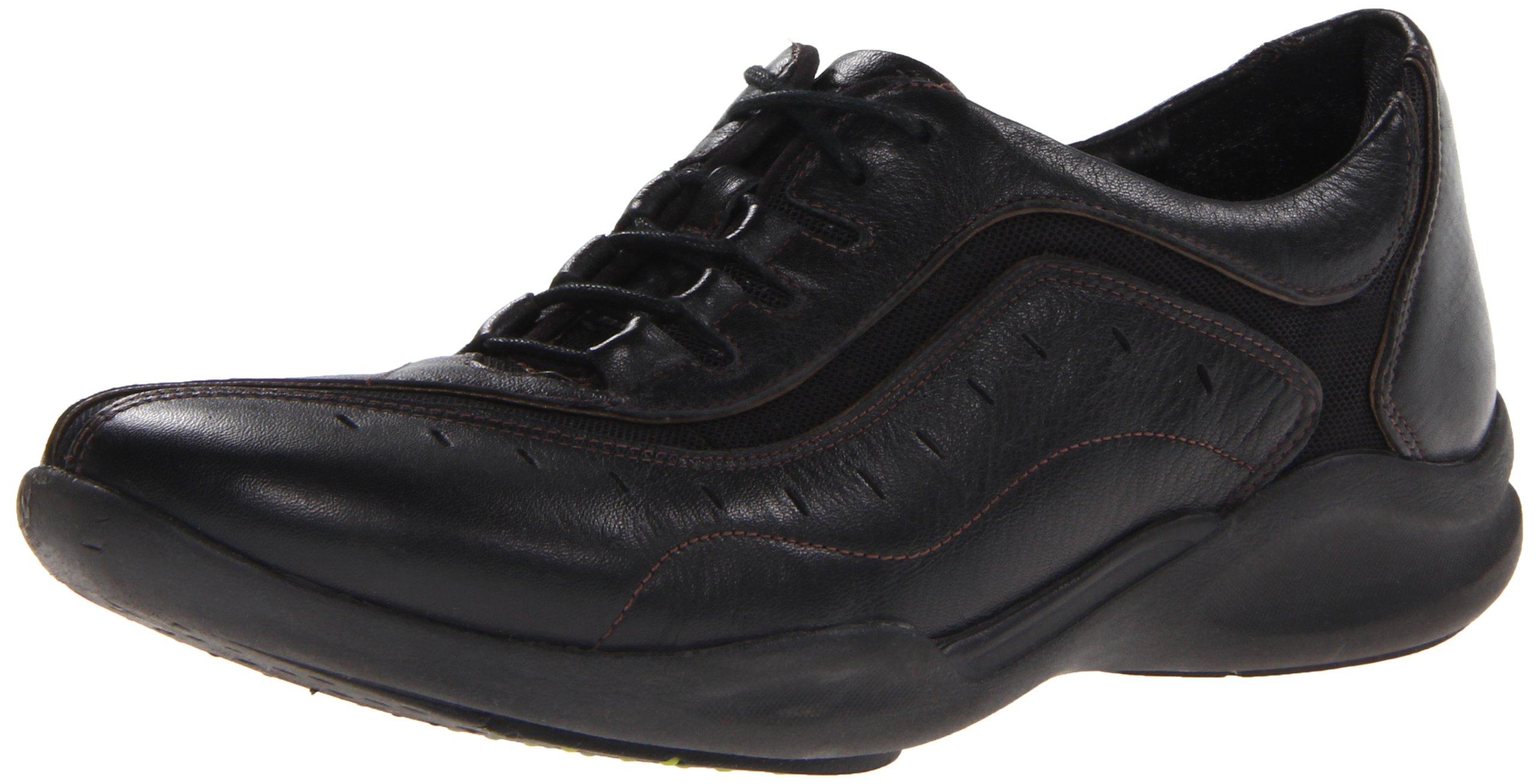 Clarks Women's Wave.Wheel Oxford,Black Leather,6 B US
