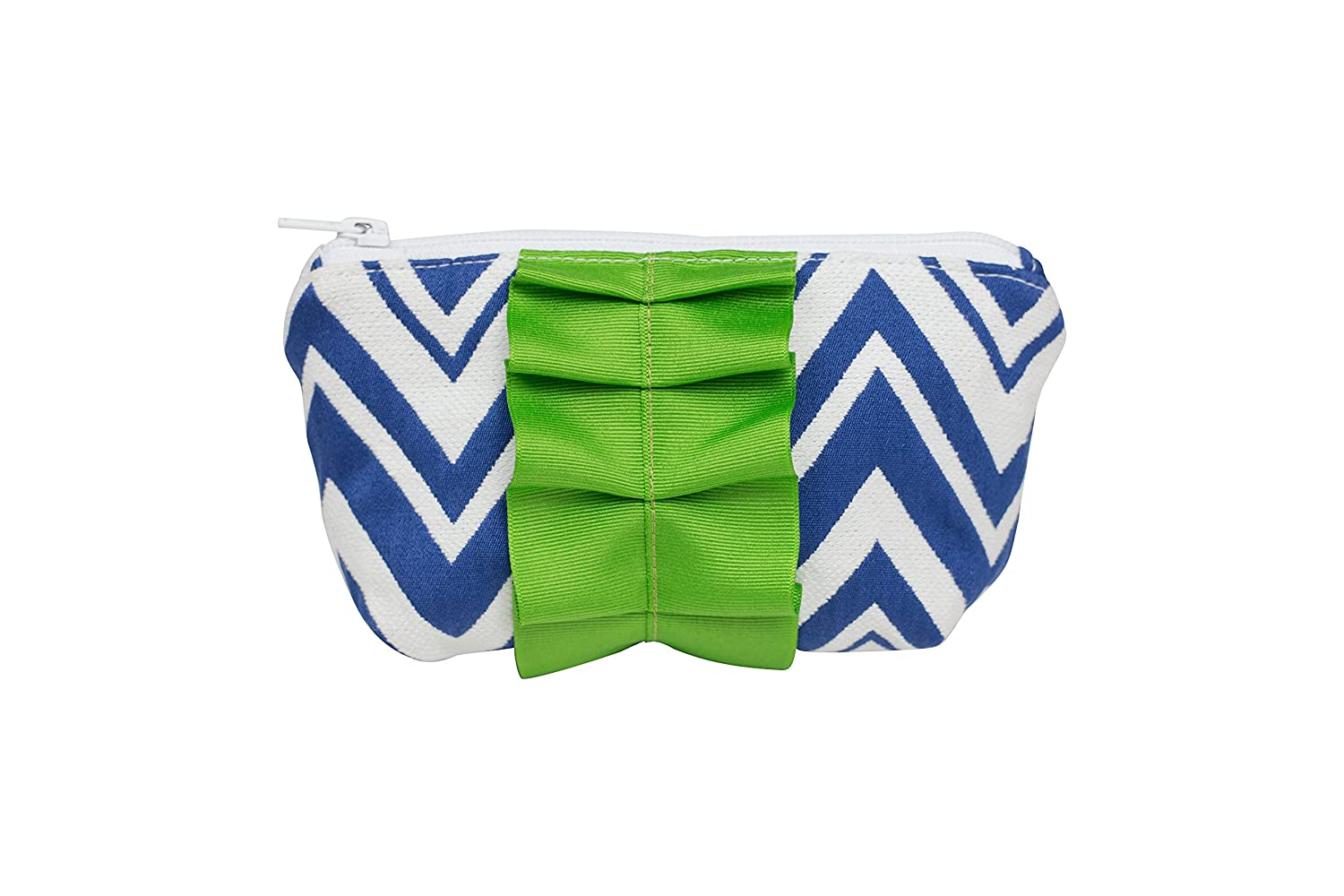 Caught Ya Lookin' Mother's Cosmetic Bag, Royal Chevron with Green Trim by Caught Ya Lookin' B00ZZQDSX0