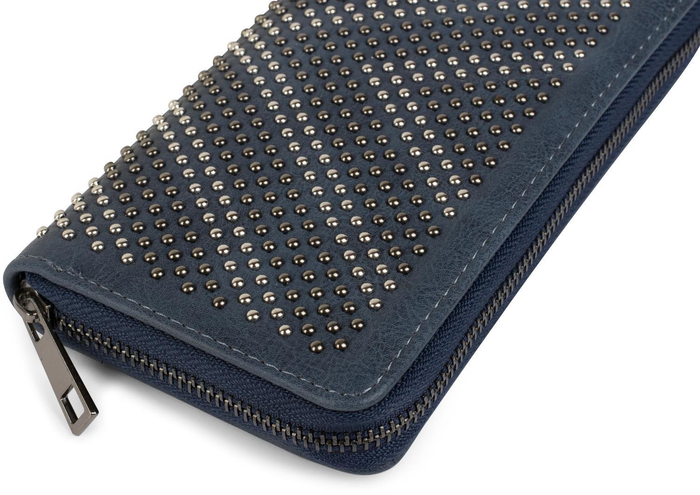 styleBREAKER monedero con remaches en /óptica en forma de V se/ñora 02040084 cartera color:azul cremallera circular remaches de dos tonos