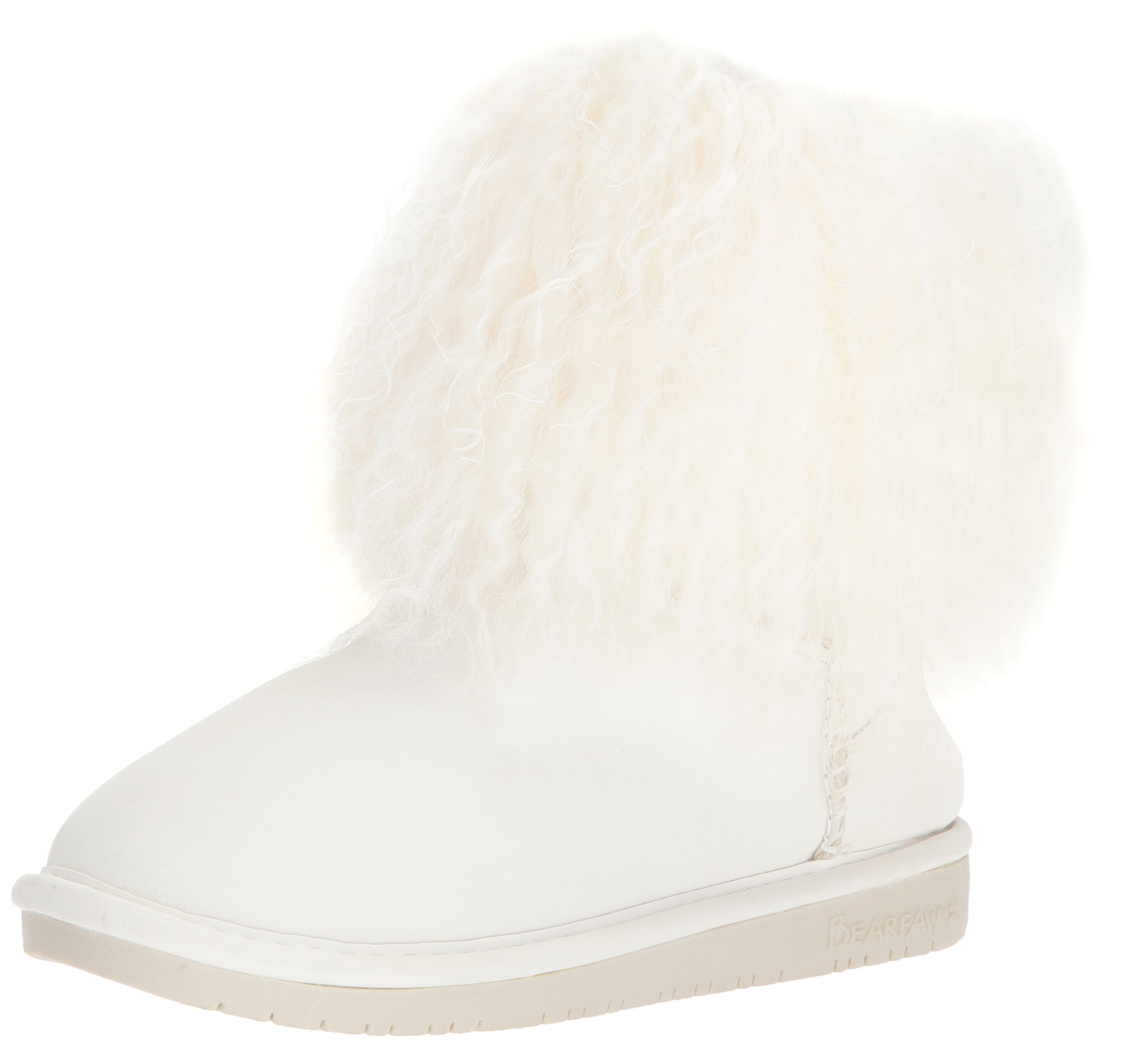 BEARPAW Womens Boo: 7 in. Wool Boot (White, 6)