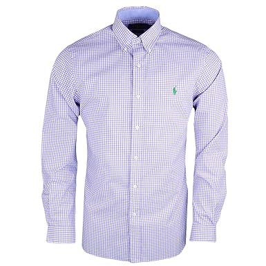 94583a255c4 Ralph Lauren Chemise Vichy Violet et Blanc Logo Vert Slim fit pour Homme   Amazon.fr  Vêtements et accessoires