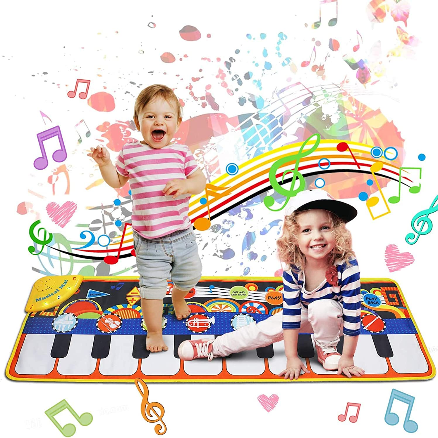 "Music Mat Toy for Kids Toddlers Age 3-8 Years Old, 19 Piano Key Playmat Touch Play Game Dance Blanket Carpet Mat with Record, Playback, Demo, Adjustable Vol, Educational Toys for Girls Boys, 43""X14"": Toys & Games"