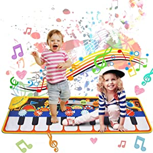 Music Mat Toy for Kids Toddlers Age 3-8 Years Old, 19 Piano Key Playmat Touch Play Game Dance Blanket Carpet Mat with Record, Playback, Demo, Adjustable Vol, Educational Toys for Girls Boys, 43
