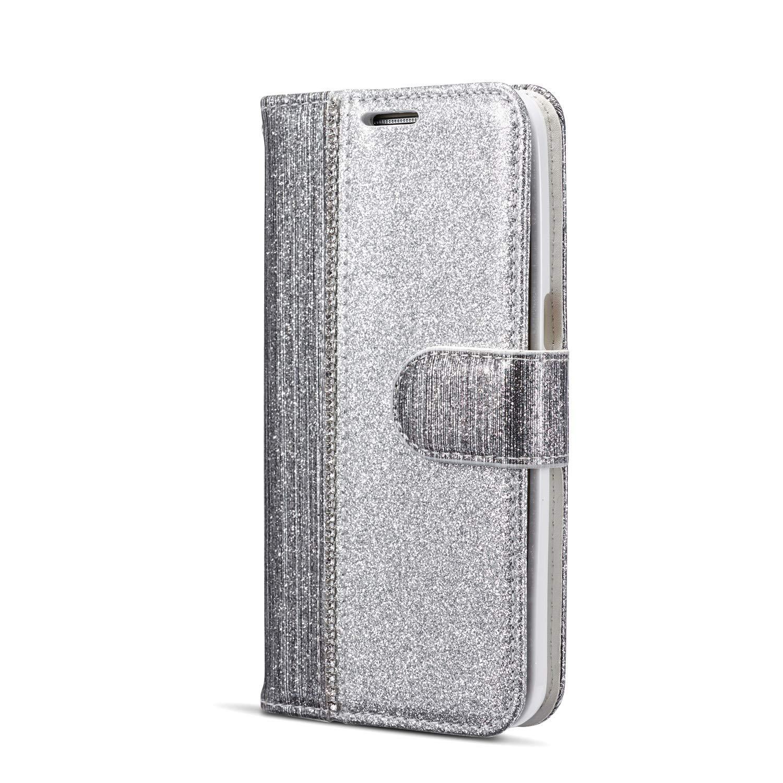 Huphant kompatibel mit Samsung Galaxy S7 Handyh/ülle Glitzer Leder H/ülle Wallet Flip Schutzh/ülle Tasche mit Samsung Galaxy S7 Kartenfach Geldklammer St/änder Kartenf/ächer Magnet Diamant Rosegold