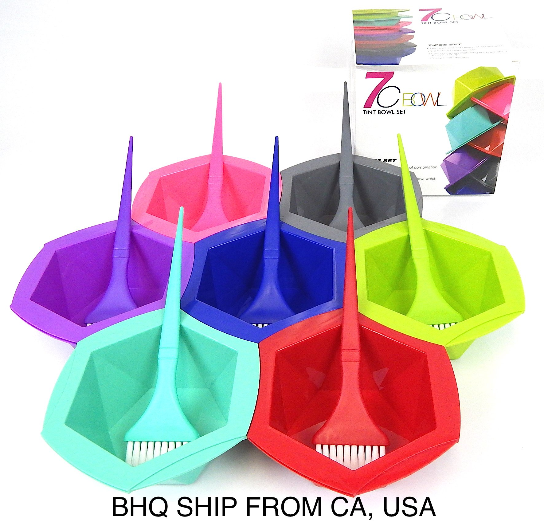 7-Color Rainbow Hair Dye Brush and Bowl Set for Hair Coloring by Beauty Headquarters