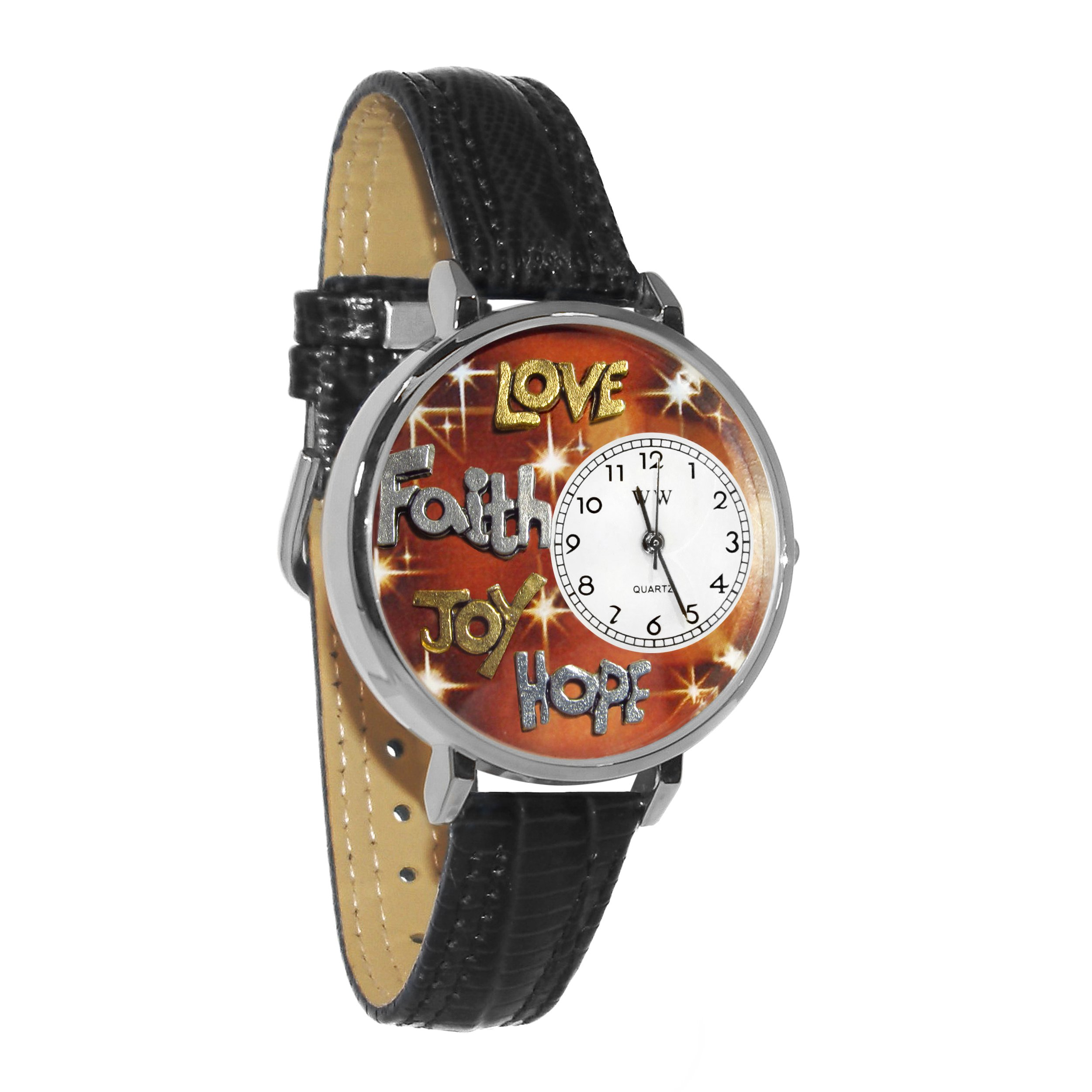 Faith Hope Love Joy Black Leather And Silvertone Watch #WG-U0710015