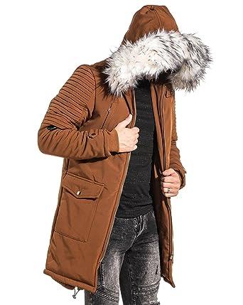 nouveaux styles ce5f4 b86d4 PROJECT X - Manteau Parka Homme Long Camel à Capuche ...