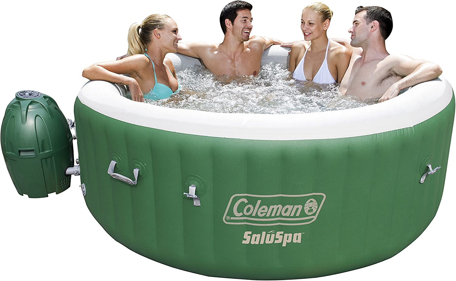 Coleman Saluspa Inflatable Hot Tub Portable Hot Tub W Heated Water System Bubble Jets Relieves Stress Muscle Joint Pain Fitsup To 6 People Garden Outdoor