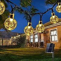 Guirnaldas Luces Exterior Solar, Qxmcov 7M Total de 50 LED Cadena de Bola Cristal Luz, IP65 Lmpermeable, Guirnalda Solar…