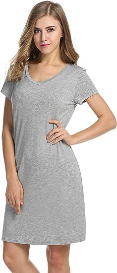 Women/'s Loose T-Shirt Dress Sleep Tee Cotton Sleepwear Nightwear Sleepshirt