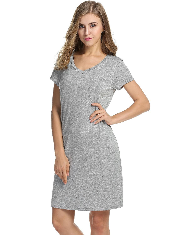 Avidlove Women's V-Neck Casual Nightshirt Short Sleeve Sleepwear Sleepshirt S-XL *ALK005049